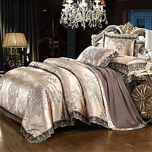 cheap Solid Duvet Covers-Duvet Cover Sets Luxury Silk Cotton Blend Reactive Print 4 Piece Bedding Set With Pillowcase Bed Linen Sheet Single Double Queen King Size Quilt queen