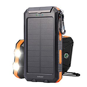 cheap Flashlights & Camping Lanterns-Solar Power Bank 10000mAh DC 5V 1A Solar charger Portable IP67 Waterproof Dual USB Ports Battery Bank with 2 LED Flashlight Compass