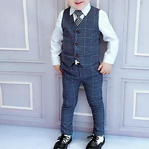 cheap Kids' Oxfords-Kids Boys' Street chic Plaid Long Sleeve Regular Clothing Set Wine