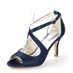 cheap Wedding Shoes-Women's Strappy Stacked Heels Satin Fall / Spring & Summer Minimalism Sandals Stiletto Heel Open Toe Pearl / Buckle Dark Purple / Champagne / Ivory / Wedding / Party & Evening / Party & Evening