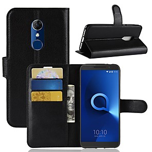 cheap Other Phone Case-Case For Alcatel Alcatel 5044r / Alcatel 3 / Alcatel 3C Wallet / Card Holder / Flip Full Body Cases Solid Colored Hard PU Leather