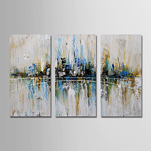 cheap Abstract Paintings-Oil Painting Hand Painted - Abstract Modern Stretched Canvas / Three Panels
