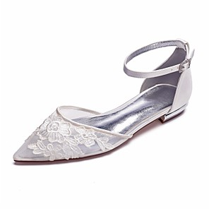 cheap Wedding Shoes-Women's Wedding Shoes Clear / Transparent / PVC Flat Heel Pointed Toe Rhinestone / Sparkling Glitter Satin / Mesh Sweet Spring & Summer White / Ivory / Party & Evening