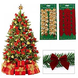economico Addobbi di Natale-12 pz piuttosto arco di natale ornamento decorazione dell'albero di natale festa festa casa bowknots baubles baubles capodanno decorazione