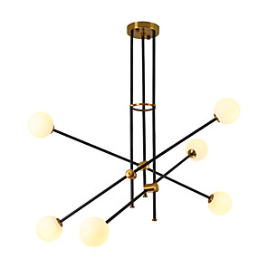 cheap Globe Design-6-Light 87 cm Adjustable Chandelier Metal Glass Sputnik Electroplated / Painted Finishes Contemporary / Antique 110-120V / 220-240V