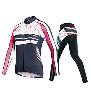 cheap Cycling Jersey & Shorts / Pants Sets-Realtoo Women's Long Sleeve Cycling Jersey with Tights Winter Fleece Polyester Spandex Black Floral Botanical Plus Size Bike Clothing Suit Thermal / Warm Breathable 3D Pad Quick Dry Sweat-wicking