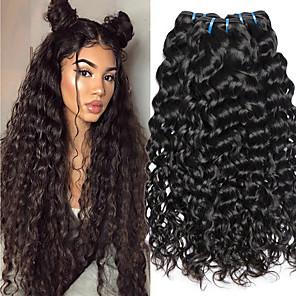 cheap Human Hair Weaves-4 Bundles Vietnamese Hair Water Wave Human Hair Unprocessed Human Hair 200 g Natural Color Hair Weaves / Hair Bulk Hair Care Extension 8-28 inch Natural Color Human Hair Weaves Soft New Arrival Thick