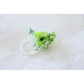 cheap Party Accessories-Wedding Flowers Wrist Corsages Wedding / Wedding Party Bead / Fabrics 0-10 cm