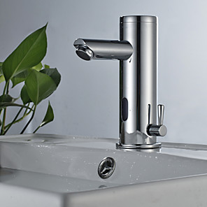 cheap Bathroom Sink Faucets-Bathroom Sink Faucet - Sensor Chrome Free Standing Hands free One HoleBath Taps / Stainless Steel