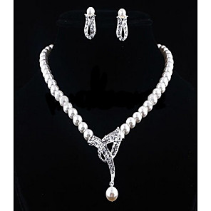 cheap Pearl Necklaces-Women's White Cubic Zirconia Drop Earrings Pearl Necklace Beads Flower Ladies Stylish Romantic Elegant Bridal Pearl Rhinestone Earrings Jewelry Silver For Wedding Gift 1 set