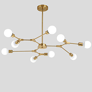 cheap Flush Mounts & Semi Flush Mounts-9-Light Electroplated Northern Europe Chandelier 9-Head Modern Metal Molecules Pendant Lights Living Room Dining Room Bedroom