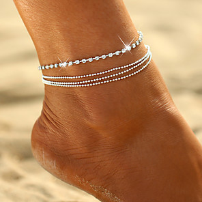 cheap Jewelry Sets-Women's Ankle Bracelet Beads Romantic Anklet Jewelry Gold / Silver For Street Going out