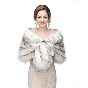 cheap Kids' Dancewear-Sleeveless Capelets Faux Fur Wedding / Party / Evening Women's Wrap With Solid / Fur