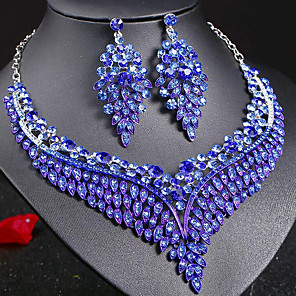 cheap Hair Jewelry-Women's Sapphire Crystal Statement Necklace Earrings Bridal Jewelry Sets Leaf Ladies Stylish Luxury Unique Design Dangling Elegant Rhinestone Earrings Jewelry Dark Blue / Rainbow / Red For Party Gift