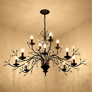 cheap Candle-Style Design-12 Bulbs JLYLITE 112 cm Mini Style Chandelier Metal Painted Finishes Retro / Traditional / Classic 110-120V / 220-240V