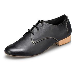 cheap Swing Shoes-Men's Modern Shoes / Ballroom Shoes Cowhide Sneaker Splicing Thick Heel Dance Shoes Black