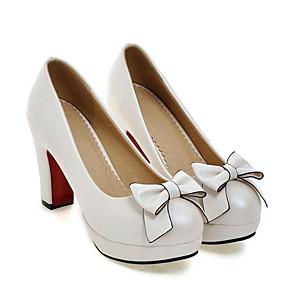 cheap Women's Heels-Women's Heels Block Heel Round Toe Sweet Daily Bowknot Solid Colored PU Walking Shoes Summer White / Black / Pink