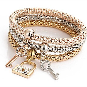 abordables Collier-3pcs Bracelet Pendentif Parure Bracelet Bracelets de mémoire Femme Multirang Strass Amitié dames Doux Italien Bracelet Bijoux Dorée Rose pour Cérémonie Soirée