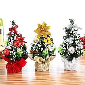 Недорогие Рождественский декор-20см мини рождественская елка искусственные настольные украшения фестиваль миниатюрная елка