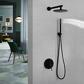 cheap Faucet Accessories-Shower Faucet / Bathroom Sink Faucet - Contemporary Painted Finishes Wall Mounted Brass Valve Bath Shower Mixer Taps / Single Handle Three Holes