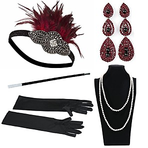 cheap Historical & Vintage Costumes-The Great Gatsby Charleston Roaring 20s Vintage 1920s Costume Accessory Sets Gloves Necklace Flapper Headband Women's Feather Costume Head Jewelry Earrings Pearl Necklace Red / Black Vintage Cosplay