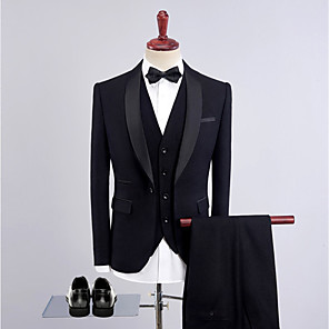 cheap Custom Tuxedo-Tuxedos Tailored Fit Shawl Collar Single Breasted One-button Wool / Polyester Solid Colored