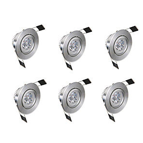 cheap LED Cabinet Lights-6pcs 3 W 300 lm 3 LED Beads Easy Install Recessed LED Recessed Lights Warm White Cold White 85-265 V Commercial Home / Office Living Room / Dining Room