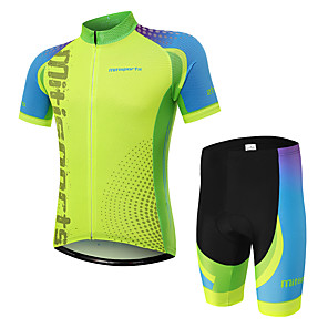 cheap Cycling Jersey & Shorts / Pants Sets-Men's Short Sleeve Cycling Jersey with Shorts Green Bike Clothing Suit Breathable Moisture Wicking Quick Dry Sports Polyester Spot Mountain Bike MTB Road Bike Cycling Clothing Apparel / Stretchy