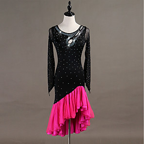 cheap Latin Dancewear-Latin Dance Dress Tassel Crystals / Rhinestones Women's Training Long Sleeve High Spandex Tulle