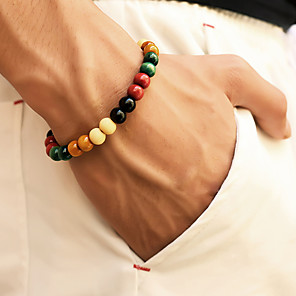 cheap Men's Bracelets-Men's Bead Bracelet Beads Chakra Cheap Stylish Simple Casual / Sporty equilibrio Wooden Bracelet Jewelry Rainbow For Daily Street Going out