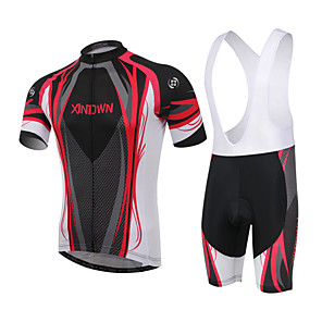 cheap Men's Cycling Jersey & Shorts / Pants Sets-XINTOWN Men's / Women's Short Sleeve Cycling Jersey with Bib Shorts - Red / Blue Plus Size Bike Padded Shorts / Chamois / Clothing Suit, Breathable, 3D Pad Curve / High Elasticity
