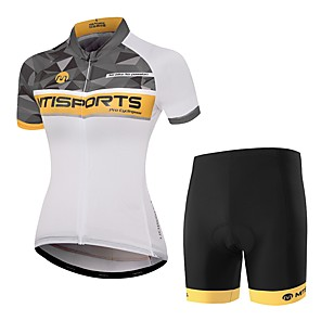 cheap Cycling Jersey & Shorts / Pants Sets-Women's Short Sleeve Cycling Jersey with Shorts Orange+White Argyle Bike Clothing Suit Breathable Moisture Wicking Quick Dry Sports Polyester Argyle Mountain Bike MTB Road Bike Cycling Clothing