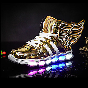 cheap Kids' LED Shoes-Boys' LED / LED Shoes PU Sneakers Big Kids(7years +) Sequin / LED / Luminous Black / Red / Gold Fall / Winter / Rubber