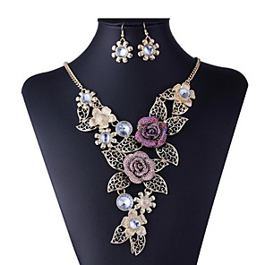 cheap Pearl Necklaces-Women's Cubic Zirconia Bridal Jewelry Sets Hollow Out Flower Ladies Stylish Luxury Unique Design Rhinestone Gold Plated Earrings Jewelry Gold For Wedding Party
