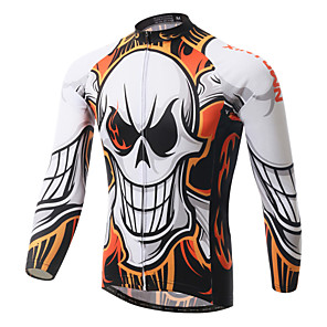 cheap Cycling Jerseys-XINTOWN Men's Long Sleeve Cycling Jersey White Skull Bike Jersey Top Breathable Quick Dry Ultraviolet Resistant Sports Winter Elastane Terylene Mountain Bike MTB Road Bike Cycling Clothing Apparel