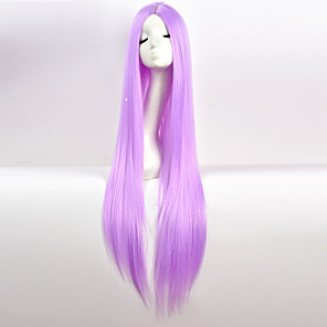 cheap Synthetic Trendy Wigs-Cosplay Costume Wig Synthetic Wig Natural Straight Middle Part Wig Very Long Natural Black #1B Pink White Blue Purple Synthetic Hair 34 inch Women's Party Red Black