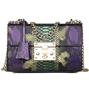 cheap Handbag & Totes-Women's Buttons PU Crossbody Bag Color Block Purple / Blue / Snakeskin