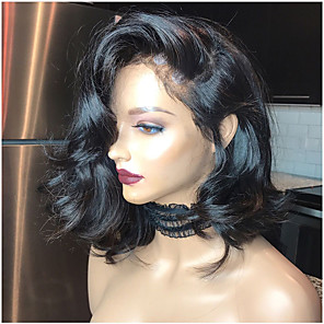 cheap Human Hair Wigs-Remy Human Hair Lace Front Wig Bob style Brazilian Hair Body Wave Natural Wig 180% Density with Baby Hair Best Quality Hot Sale Thick Women's Short Human Hair Lace Wig Premierwigs