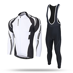 cheap Cycling Jersey & Shorts / Pants Sets-XINTOWN Men's Long Sleeve Cycling Jersey with Bib Tights Black Bike Pants / Trousers Jersey Bib Tights Thermal / Warm Windproof 3D Pad Reflective Strips Back Pocket Winter Sports Polyester Spandex