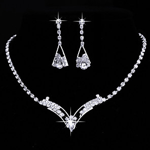 cheap Jewelry Sets-Women's White Crystal Necklace Earrings Set Tennis Chain Gypsophila Fashion Rhinestone Earrings Jewelry Silver For Wedding Party 1 set