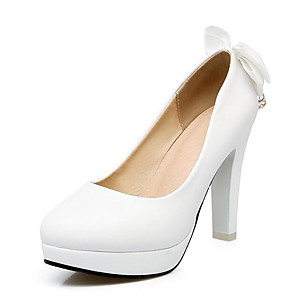 cheap Wedding Shoes-Women's Heels Stiletto Heel PU Spring Black / White / Pink / Wedding / Daily