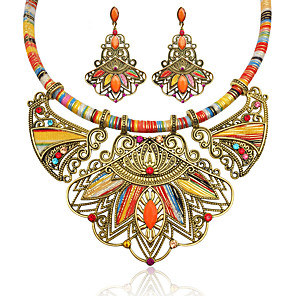 cheap Necklaces-Women's Multicolor Synthetic Diamond Drop Earrings Statement Necklace Geometrical Flower Ladies Luxury Bohemian Ethnic Elegant African Resin Rhinestone Earrings Jewelry Rainbow For Party Festival 1