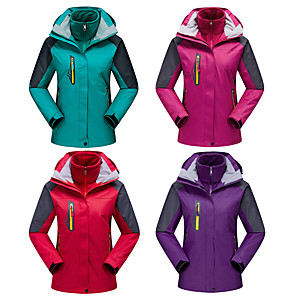 cheap Softshell, Fleece & Hiking Jackets-Women's Hiking 3-in-1 Jackets Hiking Jacket Winter Outdoor Thermal / Warm Waterproof Windproof Fleece Lining 3-in-1 Jacket Winter Jacket Top Full Length Visible Zipper Skiing Camping / Hiking Hunting
