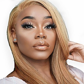cheap Human Hair Wigs-Remy Human Hair Full Lace Lace Front Wig Asymmetrical Gaga style Brazilian Hair Straight Natural Straight Blonde Wig 130% 150% 180% Density with Baby Hair Soft Women Easy dressing Best Quality Women's