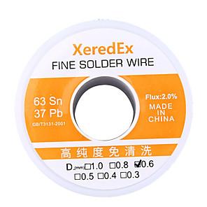 cheap Soldering Iron & Accessories-XeredEx 0.6 mm 2% Flux Tin Lead Rosin Roll Core Silver Solder Wire Welding Soldering Repair Tool Reel Melt Kit 63% Sn 50g yellow