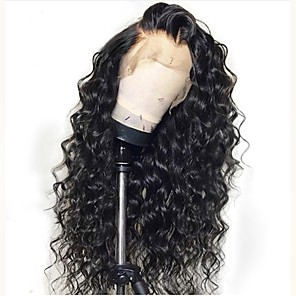 cheap Human Hair Wigs-Remy Human Hair Unprocessed Human Hair Full Lace Wig Layered Haircut style Brazilian Hair Loose Wave Black Wig 130% Density with Baby Hair Natural Hairline Unprocessed 100% Hand Tied Women's Long