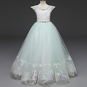 cheap Movie & TV Theme Costumes-Princess Long Length Wedding / Party / First Communion Flower Girl Dresses - Lace / Tulle Cap Sleeve Jewel Neck with Belt / Crystals / Crystals / Rhinestones