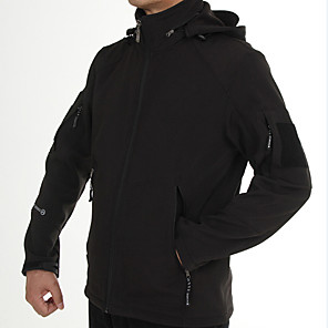 cheap Softshell, Fleece & Hiking Jackets-Men's Hiking Softshell Jacket Winter Outdoor Solid Color Waterproof Lightweight Windproof UV Resistant Jacket Fleece Softshell Single Slider Hunting Climbing Camping / Hiking / Caving ACU Color / CP