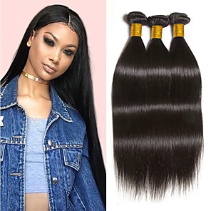 cheap Costume Wigs-3 Bundles Hair Weaves Peruvian Hair Straight Human Hair Extensions Remy Human Hair 100% Remy Hair Weave Bundles 300 g Natural Color Hair Weaves / Hair Bulk Human Hair Extensions 8-28 inch Natural