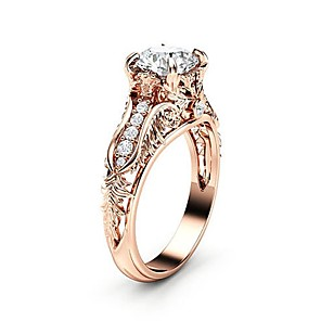 cheap Rings-Women's Ring AAA Cubic Zirconia 1pc Rose Gold Silver Copper Platinum Plated Rose Gold Plated Four Prongs Ladies Trendy Korean Wedding Party Jewelry Hollow Out Round Cut Pave Flower Petal Lovely